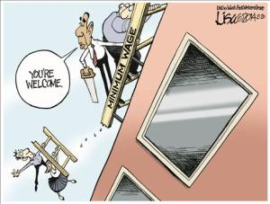 Obama saws ladder