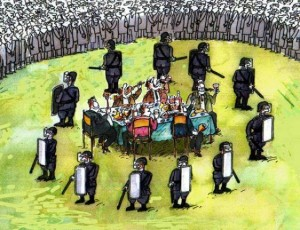 The Ruling Elite Feasting on a Banquet Protected By a Circle of Their Police Guard Dogs