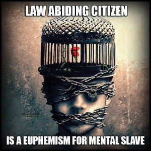 Law Abiding Citizen Is A Euphemism for Mental Slave, Face   Chained Brain In A Cage